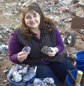 Searching for amethyst is easy and fun. It's like being a kid in the sandbox again. Here's Cheryl enjoying some rock hounding time at the Blue Point Amethyst Mine outside of Thunder Bay, Ontario. (Kevin Kaiser | Travel Beat Magazine)