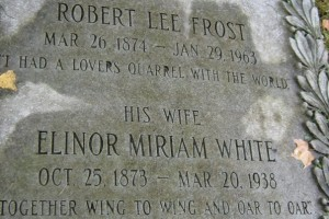 """""""Wing to wing and oar to oar,"""" Robert Frost and his wife, Elinor White, are laid to rest in Bennington, Vermont. (Cheryl Welch 