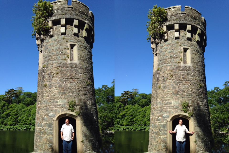 When you're in a castle turret, then you're going to want the best photo of you to share with friends. Here's an example of a typical photo of hands at side, versus the 'holding your sub' approach that creates visual distance and slims your shoulders if you were going for an up-close portrait. (Kevin Kaiser | Travel Beat Magazine)