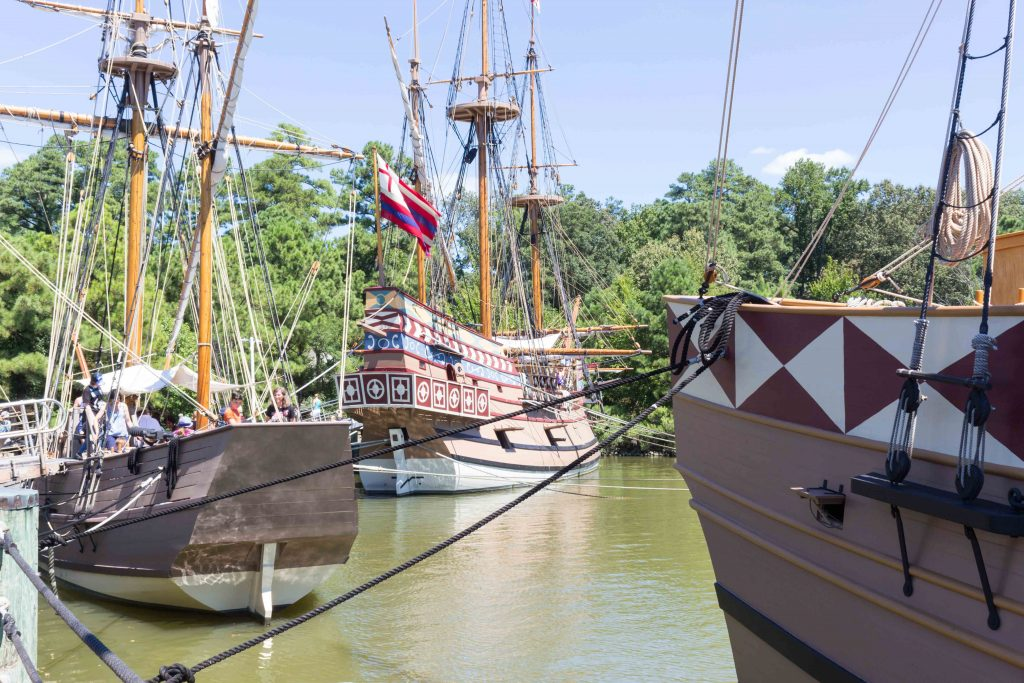 Get your sea legs and hear the harrowing tales about the journey to a new colony by stepping aboard one of the four ships in dock at the Jamestown Settlement. (Kevin Kaiser | Travel Beat Magazine)