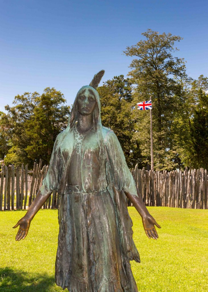 A statue portrays Pocahantas at Historic Jamestowne. (Kevin Kaiser | Travel Beat Magazine)
