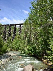 The The Copper River and Northwestern Railway was built to the Kennecott Mine. Little remains of the railroad, but this portion still bridges the river. (Cheryl Welch | Travel Beat)