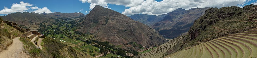 A panoramic view of the Pisac ruin show their massive scale towering above the village. (Kevin Kaiser | Travel Beat Magazine)