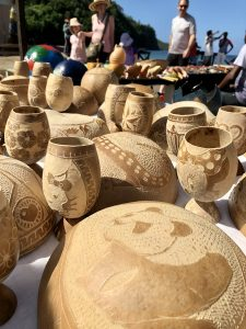 St. Lucia's markets are full of handcrafted items such as these carved gourds. (Cheryl Welch | Travel Beat Magazine)